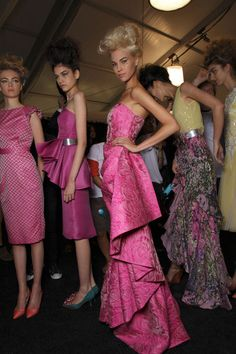 Badgley Mischka Spring 2012 - Backstage ..... Love the colours of the printed one