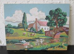Farm Stream 36EEEE2 Avalon Industries 1969 Mid Century Vintage Paint by Number PBN 8 x 6 Unframed Painting AtomicPutz.com