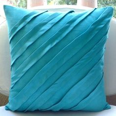 Contemporary Turquoise - Throw Pillow Covers - 16x16 Inches Suede Pillow Cover in Turquoise Blue () by TheHomeCentric