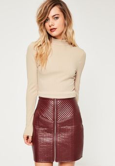 5706548626 Missguided - Nude Ribbed High Neck Crop Top Going Out Tops, Pink Outfits,  Missguided