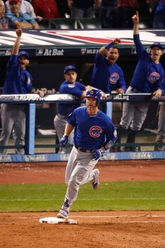 David Ross #3 of the Chicago Cubs runs the bases after hitting a solo home run during the sixth inning against the Cleveland Indians in Game Seven of the 2016 World Series at Progressive Field on November 2, 2016 in Cleveland, Ohio. (Nov. 1, 2016 - Source: Gregory Shamus/Getty Images North America)