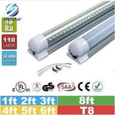 25pcs 1ft 2ft 3ft 4ft 5ft 6ft 8ft T8 Led Tubes Light 18W 22W 28W 36W 45W Integrated Led Fluorescent Tube Lamp AC 110-240V #Affiliate