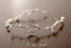 Silver white Goddess Wedding Crown Circlet Wreath with by LAmei