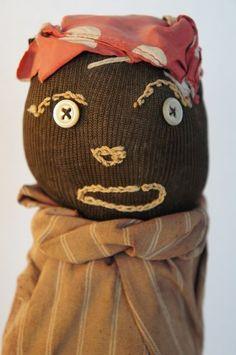 Folk Art black doll door stop antique embroidered face (item #1293910, detailed views)