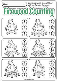 Fall Worksheets for Kindergarten Preschool Fall Math Worksheets Preschool Camping Activities, Camping Theme Crafts, Fall Preschool, Preschool Math, Math Math, Free Activities, Free Kindergarten Worksheets, Summer Worksheets, Kindergarten Age