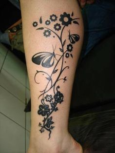 Flowers and Butterfly tatoo