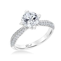 """""""Pyramid Inspiration Collection"""" Knife Edge Pave Diamond Engagement Ring with Pave Diamond Accented Head by Karl Lagerfeld: 31-KA123GRW-E-00"""
