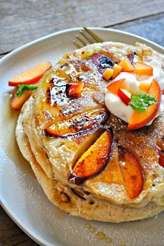Vegan Peaches and Cream Pancakes