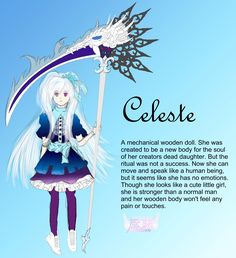 Celeste OC  description Anime Oc, Manga Anime, Wooden Dolls, The Creator, Fictional Characters, Manga
