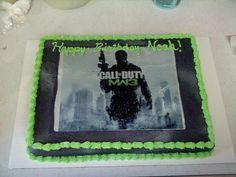 MW3 cake for my 11th Birthday party cake. or Black Ops 2. :)