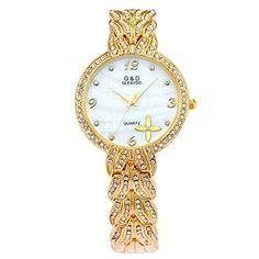 harwish Damen Quarz Edelstahl Diamant Gold Kette Armbanduhr Gold - http://uhr.haus/harwish/harwish-damen-quarz-edelstahl-diamant-gold-kette