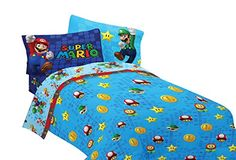 Nintendo 72 by 86-Inch Super Mario Fresh Look Comforter, Twin/Full ** Click image to review more details.