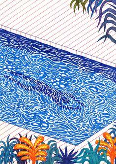 "kevinlucbert: ""The swimmer 21 x ink on paper, Kevin Lucbert, 2016 "" Illustration Inspiration, Illustration Art, Art Postal, Plakat Design, Arte Sketchbook, Arte Popular, Art Moderne, Art Inspo, Art Reference"