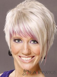 Short Straight Alternative Hairstyle - Light White Blonde Hair Color with Pink Highlights, Short White Hair, White Blonde Hair, Bleach Blonde Hair, Short Straight Hair, Short Hair Styles Easy, Short Blonde, Short Hair Cuts For Women, Golden Blonde, Light Blonde
