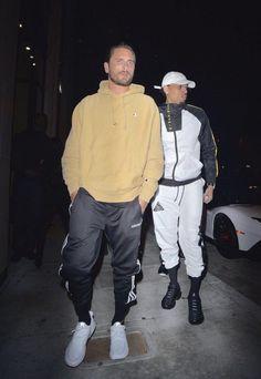 Scott Disick Seen Rocking Champion Hoodie, Adidas Sneakers With Chris Brown Wearing Black Pyramid Jacket & Nike Sneakers