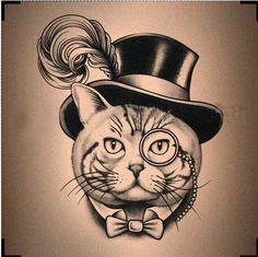 Mr Cat Feather Hat Pattern Steampunk Inspired Design Temporary Tattoo (i don't want exactly this, but similar, with chubb chubbs)