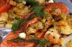 Hugs & CookiesXOXO: SALMON STUFFED WITH SHRIMP, CAPERS, ONIONS & OLIVES