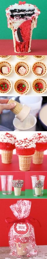 cute idea for kids Valentines day school party  Cupcake cones! Fill them with different colored cake batters and fun ingredients to make each one unique. Great gift idea!