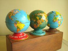 Vintage bank globes...