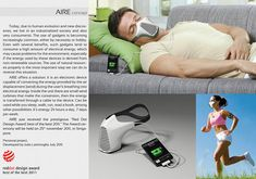 AIRE Breathing iPhone Charger. It converts the energy provided by the air displacement (wind) during user's breathing into electrical energy. Can be used while you sleep, walk, run, read a book, among other possibilities!