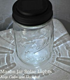 mason jar solar lights....I bought solar lights from Dollar Tree, the solar piece fit perfectly in the screw top in place of the lid. I did not have to use glue or tape or spray paint...1 minute craft.
