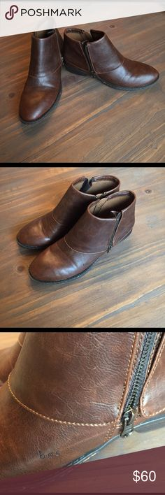 B.O.C. Brown boots Double zip sides. B.O.C. By Born (a brand known for comfort) Born Shoes Ankle Boots & Booties