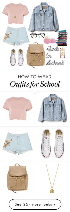 """""""Back to School"""" by danae-18 on Polyvore featuring Topshop, Converse, Gap, Jessica Simpson, Senso, Casetify, 7 For All Mankind and Eos"""
