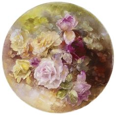 Seeking Beauty - Painted porcelain by Franz Bischoff Pink and Yellow Roses