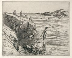 """The Bather,"" Charles Herbert Woodbury, etching, Cleveland Museum of Art."
