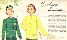 Girl Scout cardigans ad