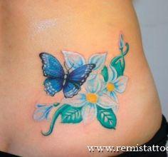 Butterfly Tattoos | Flores y mariposa a colores lindos en Tatuajes de Flores | Tatuajes.me