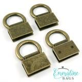 Edge Connectors Strap Anchors by Emmaline Bags in Antique Brass Finish
