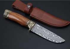 Hunting Damascus Knives Wood Handle Outdoor Fixed Knife Camping Straight Knife Collection Knives Survival Tools EDC Tool