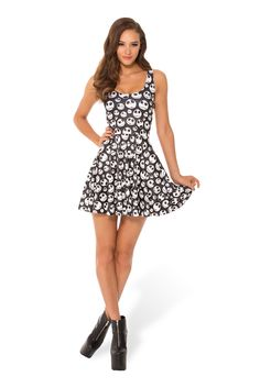 Jack Skellington Scoop Skater Dress (WW $95AUD / US $90USD) by Black Milk Clothing