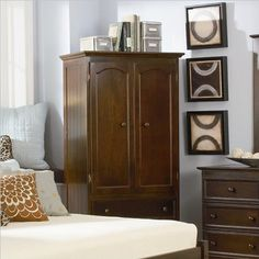walnut brown contemporary queen bed and bedroom furniture with