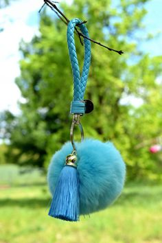 Baby Blue Rabbit Fur Ball Keychain, Handbag, Gift and more by ZEnella on Etsy https://www.etsy.com/listing/275719100/baby-blue-rabbit-fur-ball-keychain