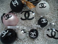 CHANEL INSPIRED CLEAR CHRISTMAS TREE ORNAMENT WITH PEARLS AND CC IN BLACK CHANEL RIBBON LARGE