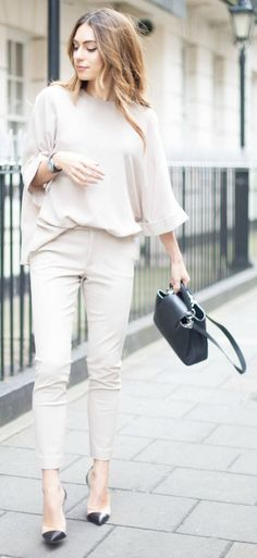 Lydia Lise Millen + neutral trend + all-neutral outfit + matching top and trousers combination + Joseph  Top/Trousers: Joseph, Coat: Jigsaw, Shoes: Gianvito Rossi, Bag: Louis Vuitton.