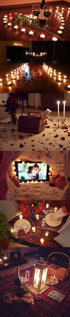 Ingredients for the perfect romantic indoor picnic: Roses, candles, blankets, yummy things, and each other! :) <3: