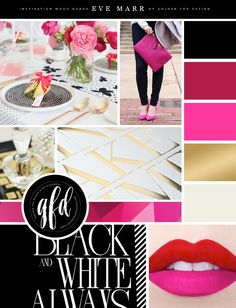 Inspiration Mood Board for Eve Marr Photography by Golden Fox Design | Brand Reveal | Brush Pen | Calligraphy | Lettering | Red | Pink | Lips | Modern | Black | Gold