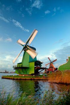 Netherlands Zaanse Schans turning windmills