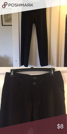 Romy black wide leg slacks Romy black wide leg slacks with front pockets. Poly/rayon/spandex blend. Wide legs very flattering and pants look great with heels or Danskos. Romy Pants Wide Leg