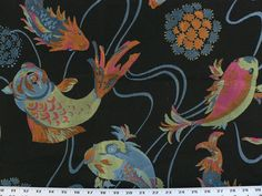 Black Animal/Fish Fabric Hot Pink/Coral by EnglesideManor on Etsy, $38.98