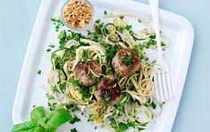 Grønsagslinguine & meatballs