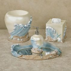 The Rising Tides Bath Accessories usher the finest coastal treasures to your bathroom. Handpainted in soft shore hues with pearlescent highlights, each resin bath accessory features blue surf, textured sand, and lovely seashells. Bathroom Vanity Tray, Bathroom Shelf Decor, Bathroom Ideas, Washroom, Walk In Shower Enclosures, Coloured Grout, Walk In Shower Designs, Sliding Door Design, Neutral Bathroom