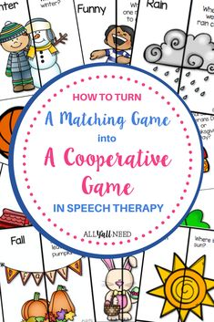 Read to see how I've turned matching games, memory games or Concentration games into cooperative games that don't leave you with time left at the end of therapy or unhappy students that don't get a turn when playing games. Speech Therapy Activities, Speech Language Pathology, Language Activities, Speech And Language, Primary Classroom, Classroom Activities, Classroom Ideas, Concentration Games, Receptive Language
