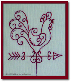 I'm getting ready to stitch my first Redwork project. Do you have any tips?: Redwork Chicken Weathervane