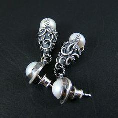 Srebrny Kot - earrings 'Pearl Garlands I' - art clay silver