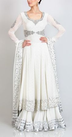white crystal and silver embroidered anarkali with gota striped lehenga and dupatta in georgette. Pakistani Bridal, Indian Bridal, Pakistani Outfits, Indian Outfits, Beautiful Gowns, Beautiful Outfits, Coordination Des Couleurs, Saris, Collection Eid