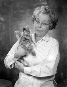 We've got an owner-pet look alike sighting! Katherine McCrow smiles with her Yorkie dog (1967). | Florida Memory